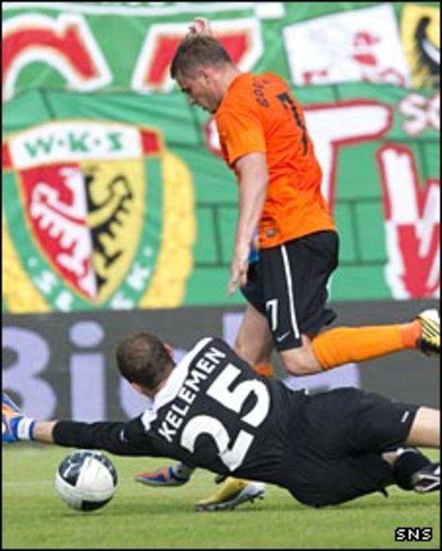 David Goodwillie is denied by goalkeeper Marian Keleman