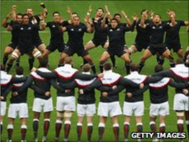 The All Blacks perform the Haka against England