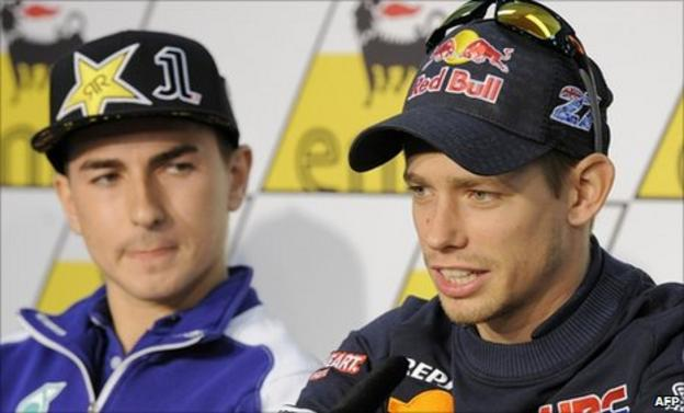 Jorge Lorenzo (left) and Casey Stoner
