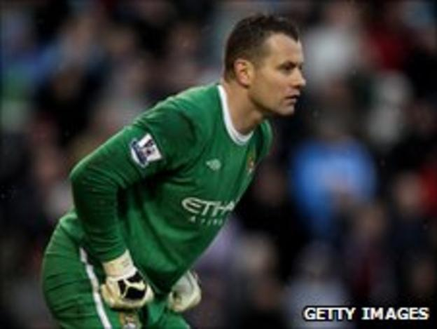 Shay Given playing for Manchester City