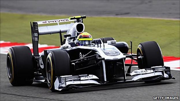 Williams driver Pastor Maldonado in the team's 2011 car