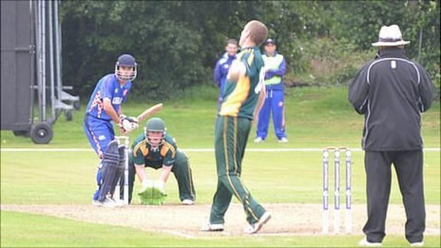 Cricket: Guernsey v Croatia with Jeremy Frith bowling and Tom Kimber wicket keeping