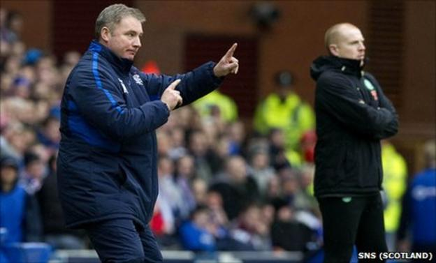 Ally McCoist passes on instructions as Neil Lennon (right) looks on at Ibrox