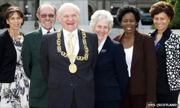 Glasgow's Lord Provost Bob Winter with members of the Namibian and Zambian NOCs