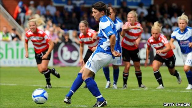 Rachel Williams scores from the penalty spot