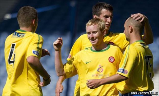 Hamilton players celebrate scoring against Queen's Park