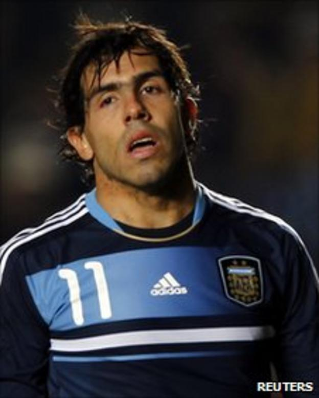 Carlos Tevez playing for Argentina