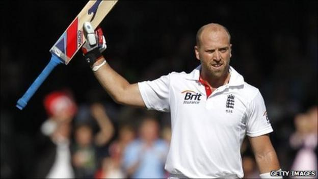 Matt Prior celebrates his sixth Test century for England