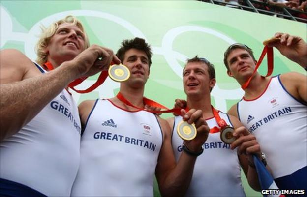 GB team Tom James, Steve Williams, Pete Reed and Andrew Triggs Hodge celebrate gold