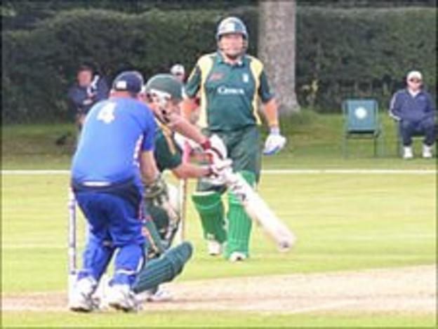 Guernsey cricketers Jeremy Frith (facing) and Stuart Le Prevost batting during the ICC European Division One tournament