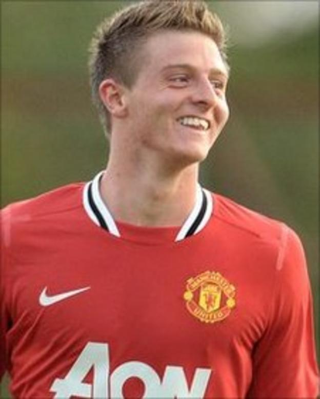 Jack Barmby celebrates after scoring in Manchester United's victory