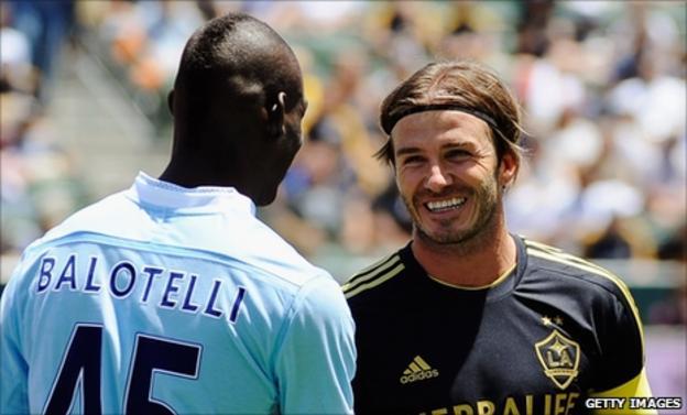 Manchester City striker Mario Balotelli and David Beckham