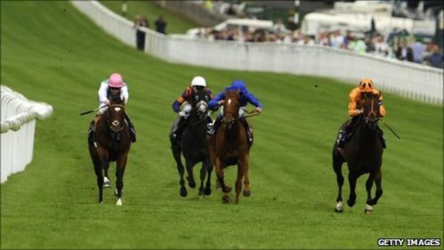 Frankel (left) leads from Canford Cliffs (right)