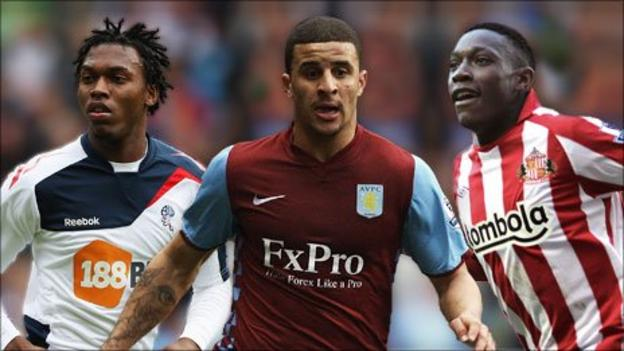 Chelsea's Daniel Sturridge playing for Bolton, Tottenham's Kyle Walker at Aston Villa and Man Utd's Danny Welbeck while on loan to Sunderland