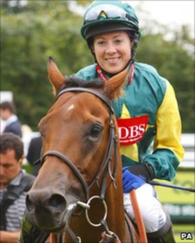 Hayley Turner celebrates on Boom And Bust