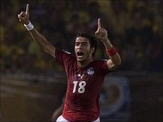 Omar Gaber celebrating his goal