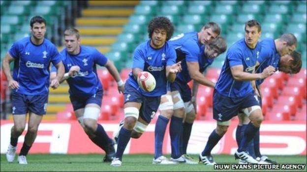 Wales players training at the Millennium Stadium in June