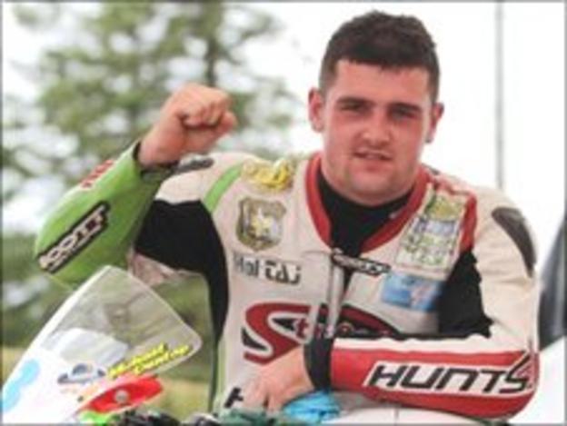 Michael Dunlop celebrates his three victories on Saturday