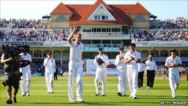 Stuart Broad celebrates his hat-trick