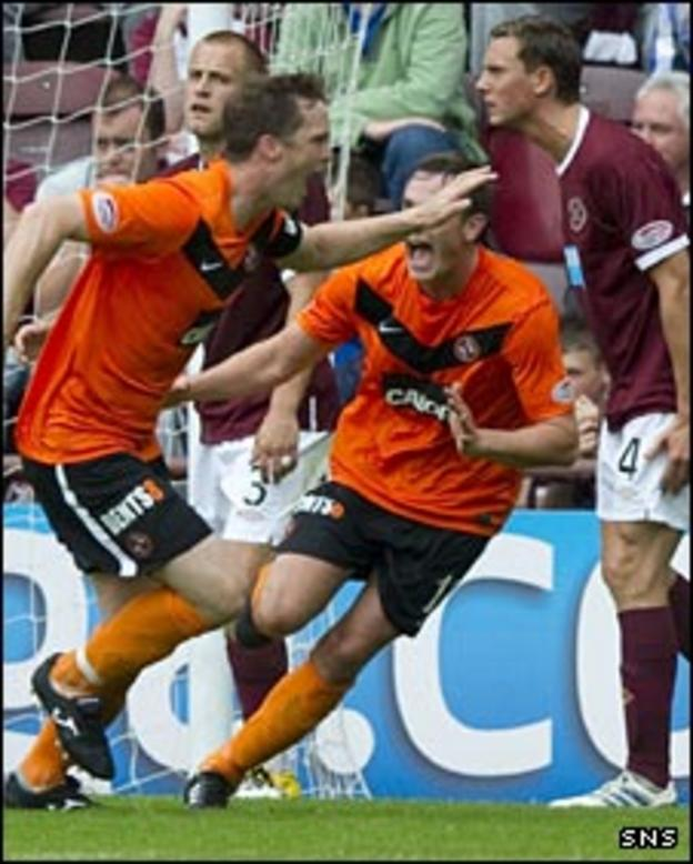 Jon Daly celebrates his goal