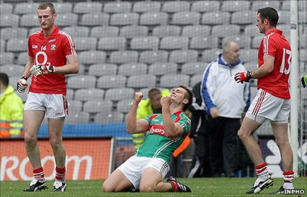 Aidan O'Shea of Mayo celebrates after the final whistle at Croke Park