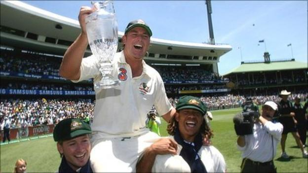 Warne, Michael Clarke and Andrew Symonds celebrate winning the Ashes in 2006