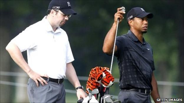 Bryon Bell with Tiger Woods