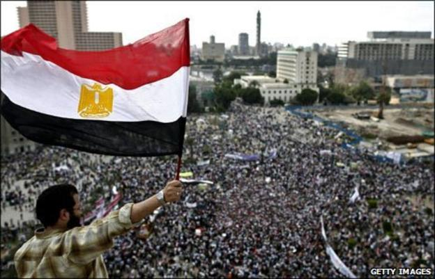 A protestor in Cairo's Tahrir Square