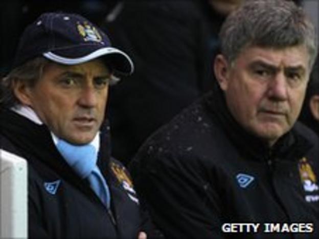 Brian Kidd (right) and Roberto Mancini