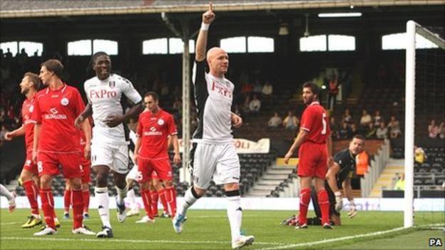 Andrew Johnson (central) celebrates scoring for Fulham