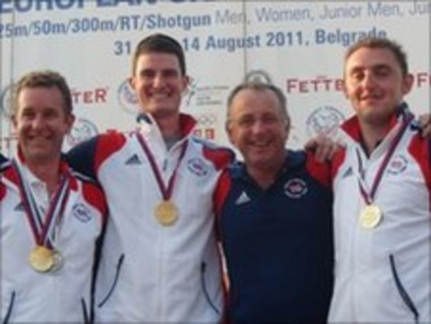 British shooting team with medals