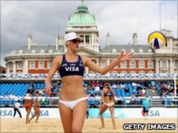 The beach volleyball took place at the Horse Guards Parade