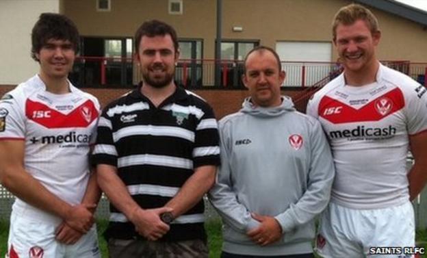 Ian Cross (left), Brendan Guilfoyle (Ireland), Ian Talbot (St Helens) and Aaron McCloskey (right)