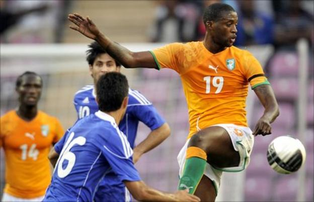 Didier Ya Konan in action for Ivory Coast against Israel
