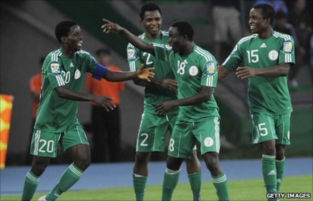 Edafe Egbedi (number18) celebrates with his Nigeria under-20 team-mates