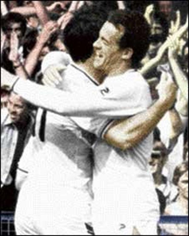Alan Curtis (right) celebrates with Bob Latchford during the 5-1 win over Leeds United