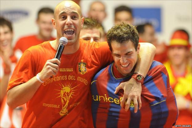 Pepe Reina and Cesc Fabregas