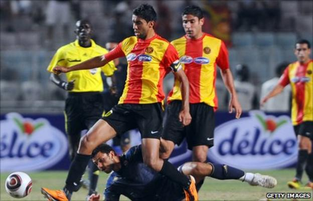 Esperance (red and yellow) play Ahly in the Champions League in 2011