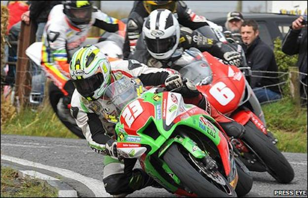 Michael Dunlop leads brother William during the first Supersport race at the Ulster Grand Prix