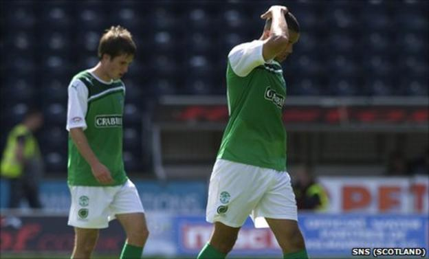Hibernian were thrashed 4-1 at Rugby Park