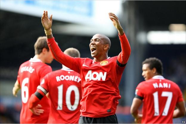 Ashley Young scores for Manchester United