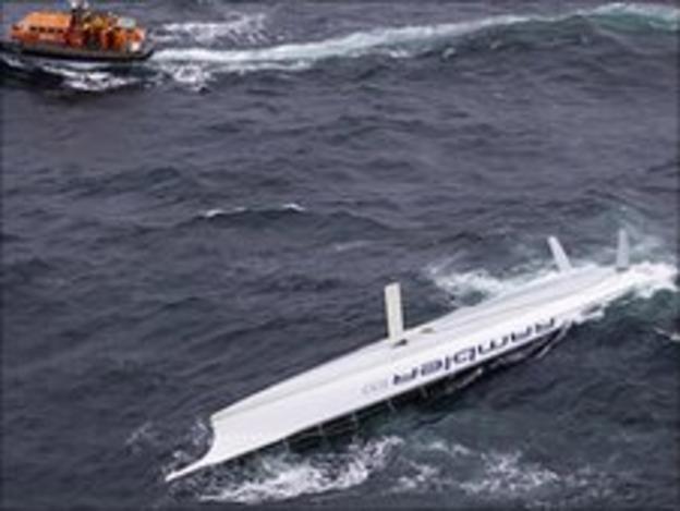 Rambler 100 capsized in the Fastnet Race