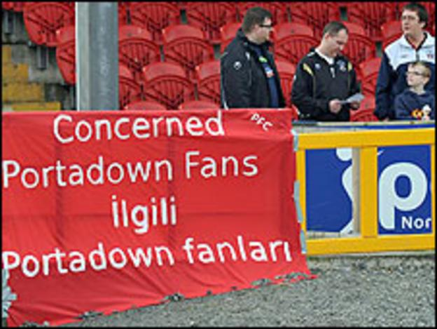 A banner at Saturday's game against Lisburn Distillery