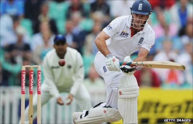 Captain Strauss guides a shot to the boundary as England dominate the first session