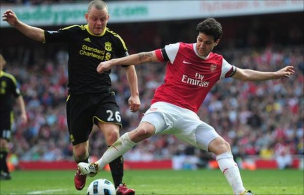 Liverpool's Jay Spearing and former Arsenal midfielder Cesc Fabregas