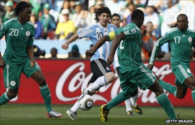 Lionel Messi in action against Nigeria at the 2010 World Cup