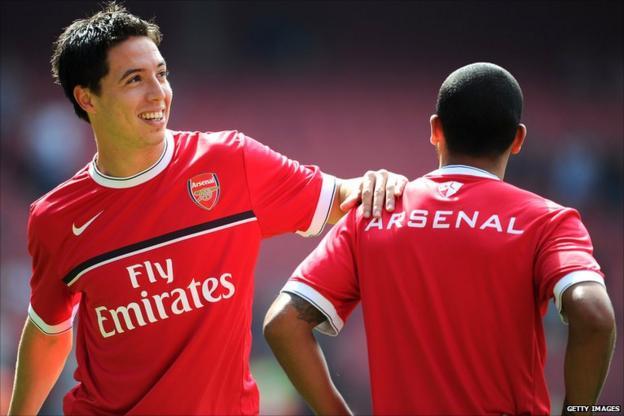 Samir Nasri warms up with Theo Walcott