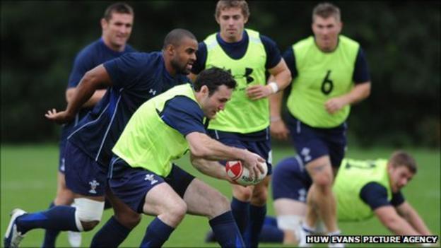 Stephen Jones in training with Wales this week