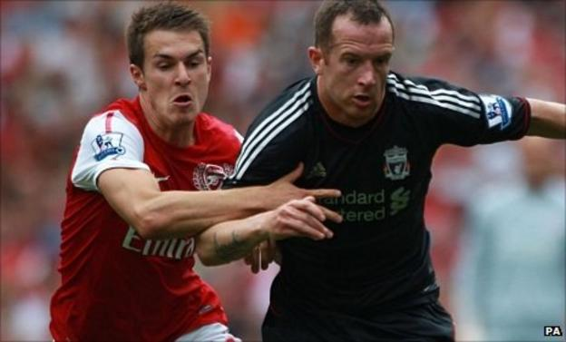Arsenal's Aaron Ramsey and Liverpool's Charlie Adam battle for the ball