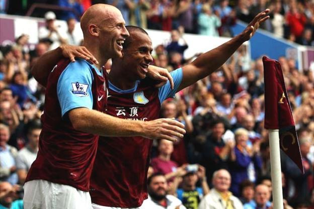 James Collins and Gabriel Agbonlahor of Aston Villa